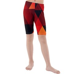 Abstract Triangle Wallpaper Kids  Mid Length Swim Shorts