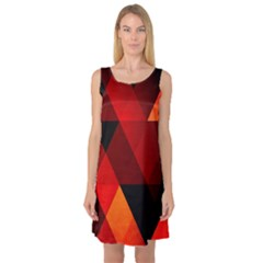 Abstract Triangle Wallpaper Sleeveless Satin Nightdress
