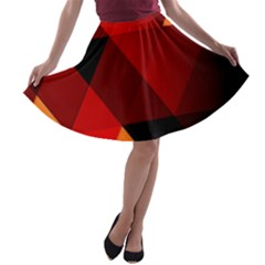 Abstract Triangle Wallpaper A Line Skater Skirt