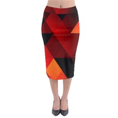 Abstract Triangle Wallpaper Midi Pencil Skirt
