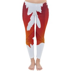 Autumn Maple Leaf Clip Art Classic Winter Leggings