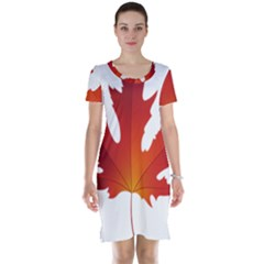Autumn Maple Leaf Clip Art Short Sleeve Nightdress