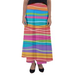 Colorful Horizontal Lines Background Flared Maxi Skirt