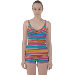 Colorful Horizontal Lines Background Tie Front Two Piece Tankini