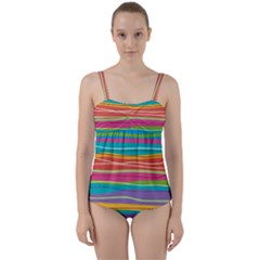 Colorful Horizontal Lines Background Twist Front Tankini Set