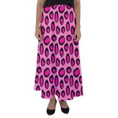 Cute Pink Animal Pattern Background Flared Maxi Skirt