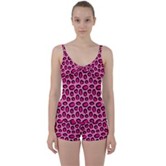 Cute Pink Animal Pattern Background Tie Front Two Piece Tankini