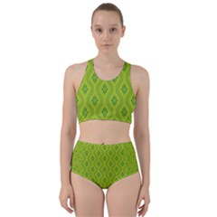 Decorative Green Pattern Background  Bikini Swimsuit Spa Swimsuit
