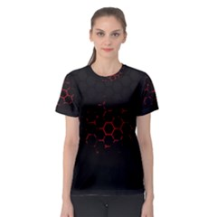 Abstract Pattern Honeycomb Women s Sport Mesh Tee