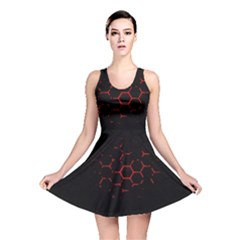 Abstract Pattern Honeycomb Reversible Skater Dress