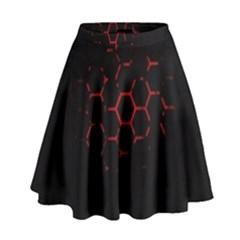 Abstract Pattern Honeycomb High Waist Skirt