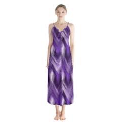 Purple Wavy Button Up Chiffon Maxi Dress