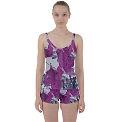 Vintage Style Flower Photo Tie Front Two Piece Tankini