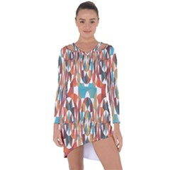 Colorful Geometric Abstract Asymmetric Cut Out Shift Dress