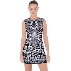 Tattoo Tribal Street Art Lace Up Front Bodycon Dress