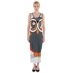 Owl Logo Fitted Maxi Dress