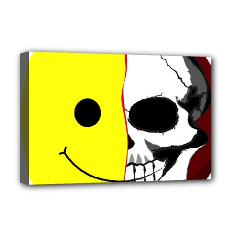Skull Behind Your Smile Deluxe Canvas 18  X 12