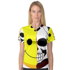 Skull Behind Your Smile V Neck Sport Mesh Tee