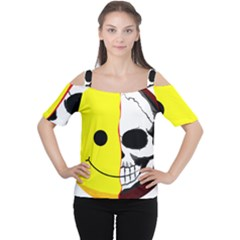 Skull Behind Your Smile Cutout Shoulder Tee