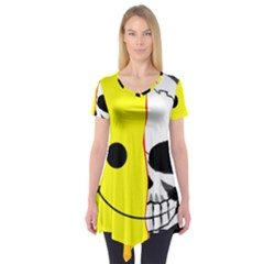 Skull Behind Your Smile Short Sleeve Tunic