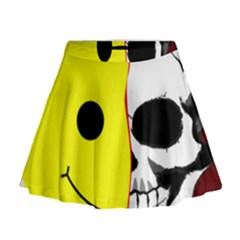 Skull Behind Your Smile Mini Flare Skirt