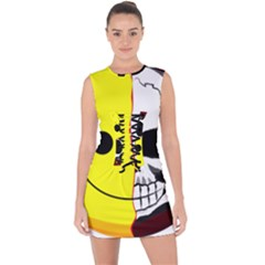 Skull Behind Your Smile Lace Up Front Bodycon Dress