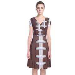 Football Ball Short Sleeve Front Wrap Dress