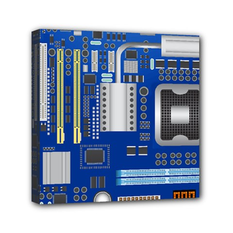 Classic Blue Computer Mainboard Mini Canvas 6  X 6