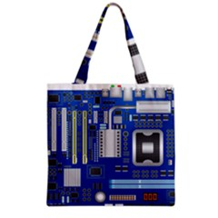 Classic Blue Computer Mainboard Grocery Tote Bag