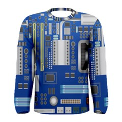 Classic Blue Computer Mainboard Men s Long Sleeve Tee