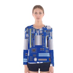 Classic Blue Computer Mainboard Women s Long Sleeve Tee