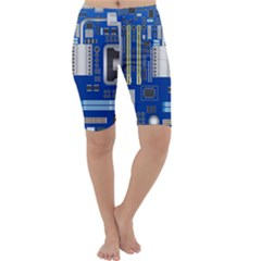Classic Blue Computer Mainboard Cropped Leggings