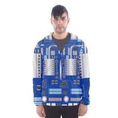 Classic Blue Computer Mainboard Hooded Wind Breaker (men)