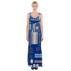 Classic Blue Computer Mainboard Maxi Thigh Split Dress