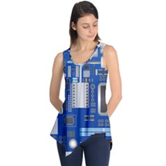 Classic Blue Computer Mainboard Sleeveless Tunic