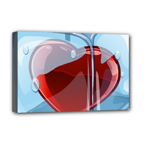 Heart In Ice Cube Deluxe Canvas 18  X 12