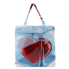Heart In Ice Cube Grocery Tote Bag