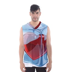 Heart In Ice Cube Men s Basketball Tank Top