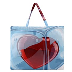Heart In Ice Cube Zipper Large Tote Bag