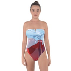 Heart In Ice Cube Tie Back One Piece Swimsuit
