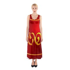 Easter Decorative Red Egg Sleeveless Maxi Dress
