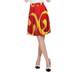 Easter Decorative Red Egg A Line Skirt