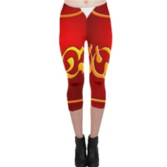 Easter Decorative Red Egg Capri Leggings