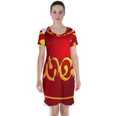 Easter Decorative Red Egg Short Sleeve Nightdress