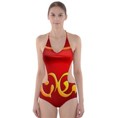 Easter Decorative Red Egg Cut Out One Piece Swimsuit