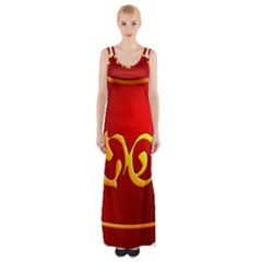 Easter Decorative Red Egg Maxi Thigh Split Dress