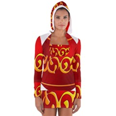 Easter Decorative Red Egg Long Sleeve Hooded T Shirt