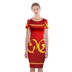 Easter Decorative Red Egg Classic Short Sleeve Midi Dress
