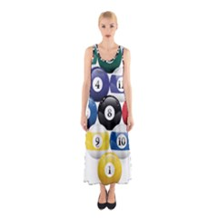 Racked Billiard Pool Balls Sleeveless Maxi Dress