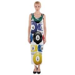Racked Billiard Pool Balls Fitted Maxi Dress